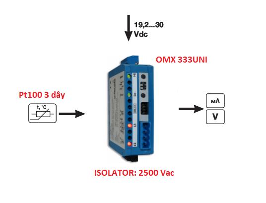 Bộ chuyển đổi Pt100 3 dây ra 4-20mA CH SÉC
