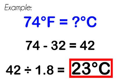 Công thức đổi độ F sang độ C