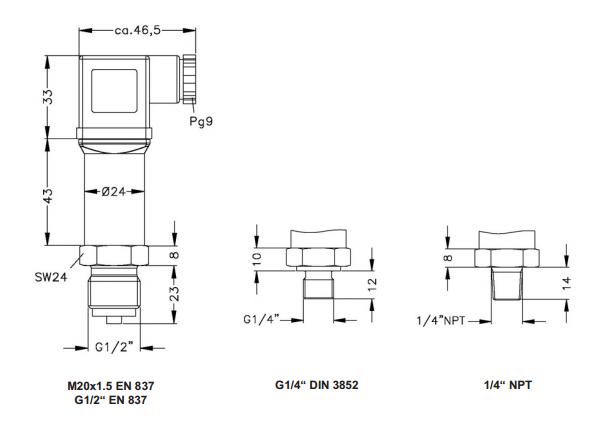 Thông số kỹ thuật của cảm biến đo áp suất 16bar 25bar 40bar