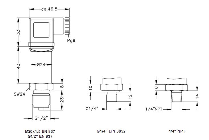 Ren kết nối của cảm biến đo áp suất nước