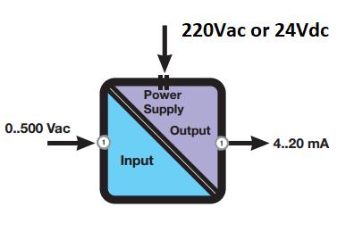 Bộ chuyển đổi điện áp 0-450V AC ra 4-20mA giá rẻ