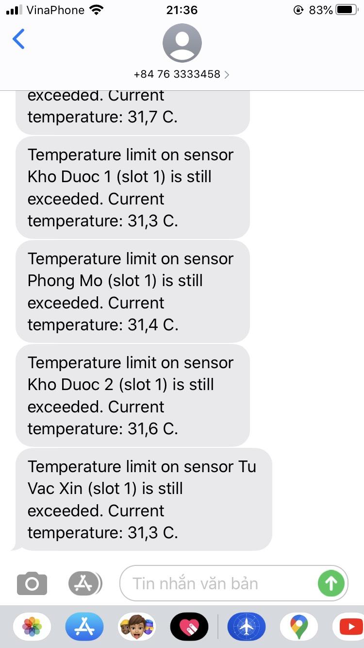Cảnh báo nhiệt độ kho bảo quản thuốc qua sms