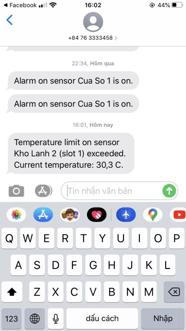 Hệ thống cảnh báo nhiệt độ kho đông lạnh qua tin nhắn sms