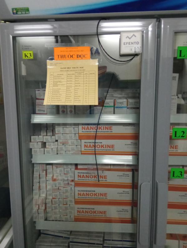 theo dõi nhiệt độ tủ dược trong bệnh viện