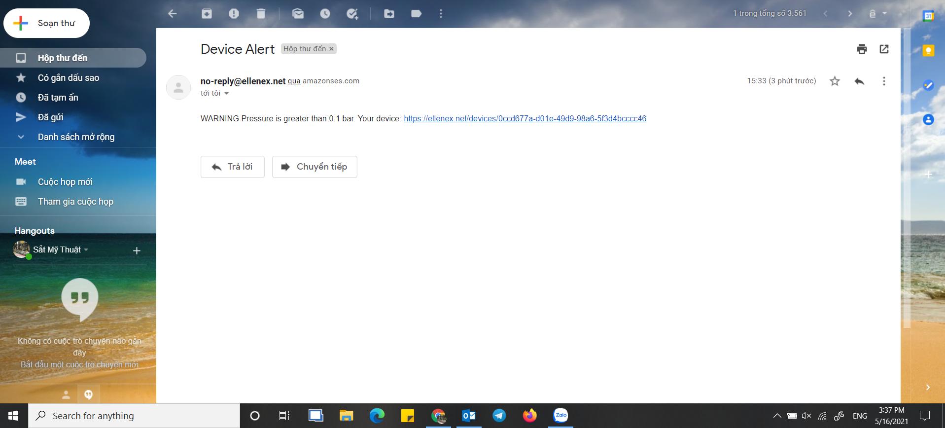 cảnh báo áp suất nước qua email