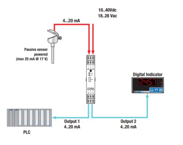 bộ tách 1 tín hiệu 4-20ma thành 2 tín hiệu 4-20ma